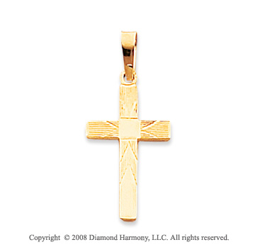 14k Yellow Gold Fine Carved Large Cross Pendant