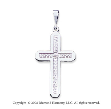 14k White Gold Ornate Large Cross Pendant