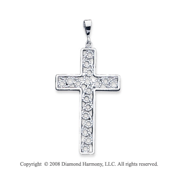 14k White Gold Fine Carved Unique Large Cross Pendant