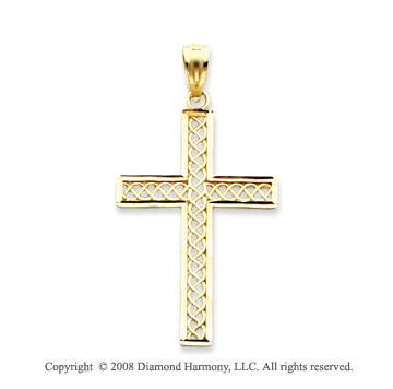 14k Yellow Gold Diamond-cut Filigree Cross Pendant