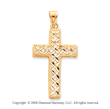 14k Yellow Gold Diamond-cut Weave Cross Pendant