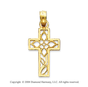 14k Yellow Gold Ornate Filigree Flower Cross Pendant
