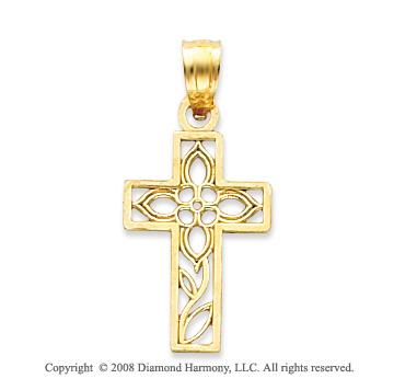 14k Yellow Gold Ornate Diamond cut Filigree Cross Pendant