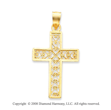 14k Yellow Gold Artistically Carved Filigree Cross Pendant
