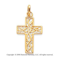 14k Yellow Gold Fine Carved Cross of Thorns Pendant
