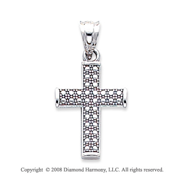 14k White Gold Unique Cross Pendant