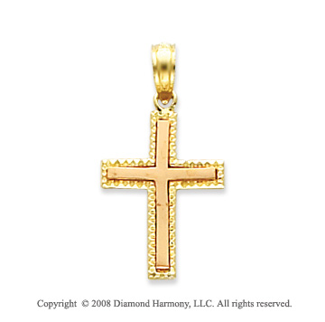 14k Yellow Gold Exquisite Fine Carved Cross Pendant