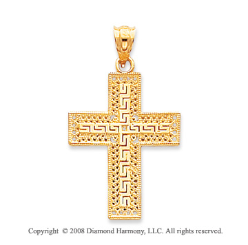 14k Yellow Gold Beautiful Greek Filigree Cross Pendant