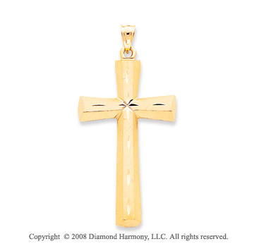 14k Yellow Gold Solid Carved Cross Pendant