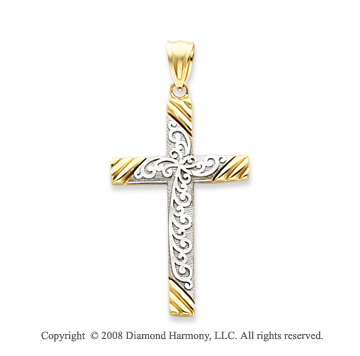 14k Two Tone Beautifully Carved Swirl Cross Pendant