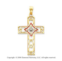 14k Yellow Gold Red Enamel Diamond Cross Pendant