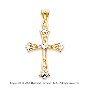 14k Yellow Gold Ornate Carved Fleur de Lis Cross Pendant