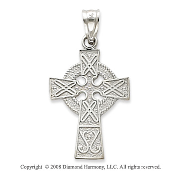 14k White Gold Elegant Carved Celtic Cross Pendant