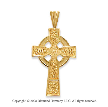 14k Yellow Gold Beautifully Carved Celtic Cross Pendant