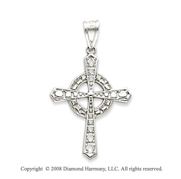 14k White Gold Shining Celtic Cross Pendant
