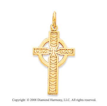 14k Yellow Gold Ornate Carved Celtic Cross Pendant