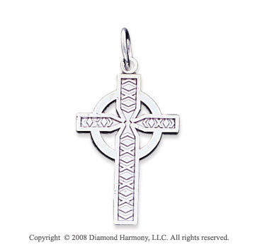 14k White Gold Ornate Carved Celtic Cross Pendant
