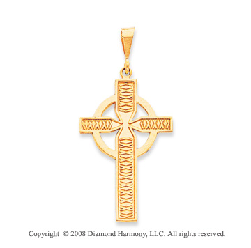 14k Yellow Gold Ornate Carved Large Celtic Cross Pendant