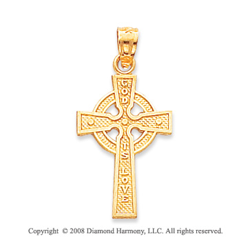 14k Yellow Gold God Is Love Celtic Cross Pendant