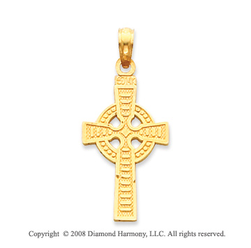 14k Yellow Gold Exquisite Celtic Cross Pendant