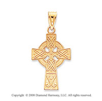14k Yellow Gold Fine Carved Celtic Cross Pendant