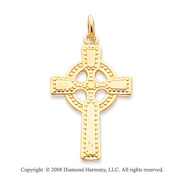 14k Yellow Gold Fine Carved Shining Celtic Cross Pendant