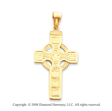 14k Yellow Gold Carved Shining Celtic Cross Pendant