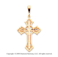 14k Yellow Gold Artistically Carved Celtic Cross Pendant