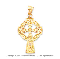 14k Yellow Gold Ornate Carved Shining Celtic Cross Pendant