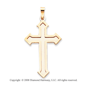 14k Two Tone Shining Passion Cross Pendant