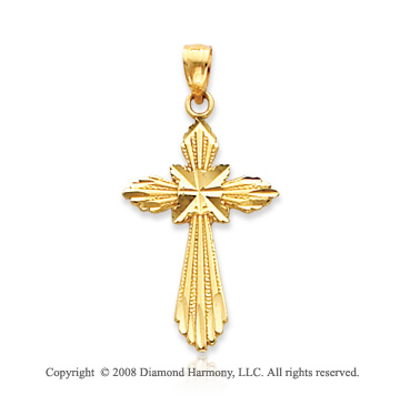 14k Yellow Gold Shining Blessed Cross Pendant
