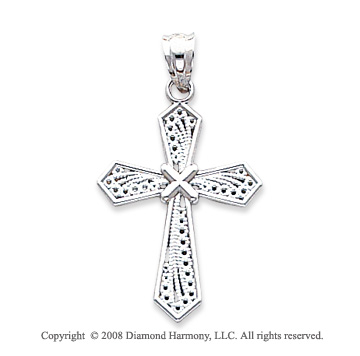 14k White Gold Glorious Filigree Cross Pendant