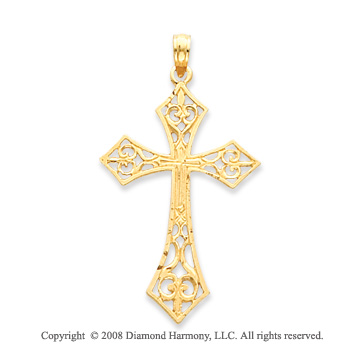14k Yellow Gold Shining Filigree Carved Cross Pendant