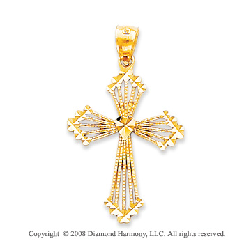 14k Yellow Gold Blessed Ornate Passion Cross Pendant