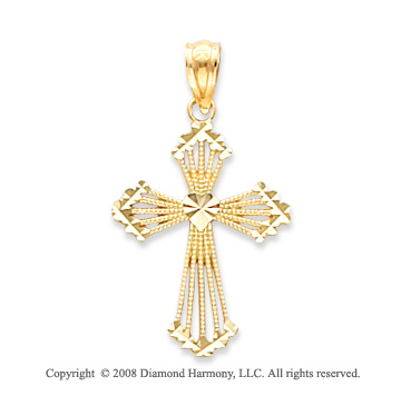 14k Yellow Gold Elegant Carved Heart Cross Pendant