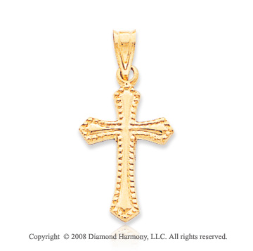 14k Yellow Gold Exquisite Carved Passion Cross Pendant