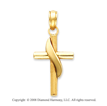 14k Yellow Gold Blessed Methodist Cross Pendant