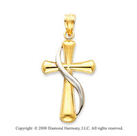 14k Two Tone Blessed Shining Methodist Cross Pendant