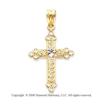 14k Yellow Gold Polished Filigree Cross Pendant