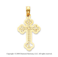 14k Yellow Gold Filigree Carved Cross Pendant