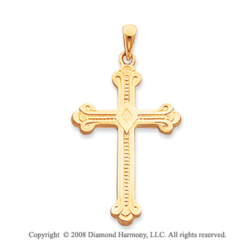 14k Yellow Gold Fine Carved Cross Pendant