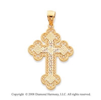 14k Yellow Gold Exquisite Greek Filigree Cross Pendant