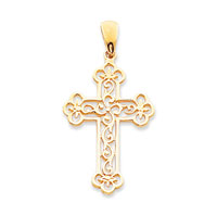 14k Yellow Gold Filigree Budded Cross Pendant