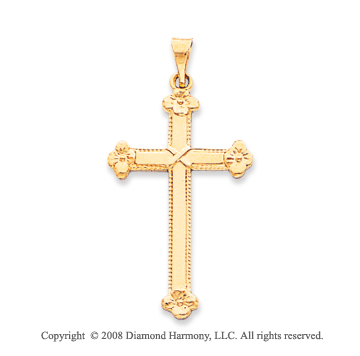 14k Yellow Gold Beautiful Budded Cross Pendant