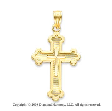 14k Yellow Gold Diamond-cut Budded Cross Pendant