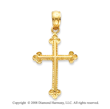 14k Yellow Gold Ornate Budded Cross Pendant