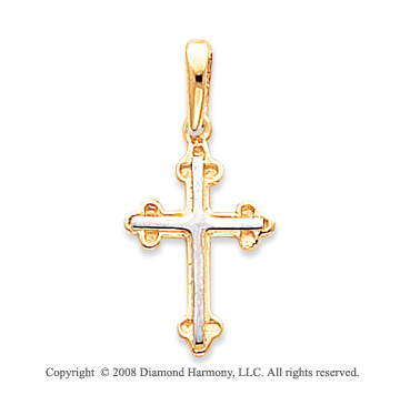 14k Yellow Gold Fine Carved Budded Cross Pendant