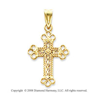 14k Yellow Gold Intricate Budded Cross Pendant