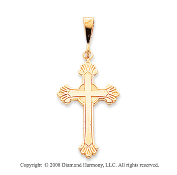 14k Yellow Gold Fleur de Lis Cross Pendant