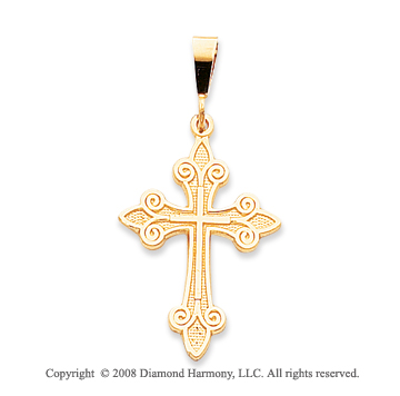 14k Yellow Gold Unique Fleur de Lis Cross Pendant